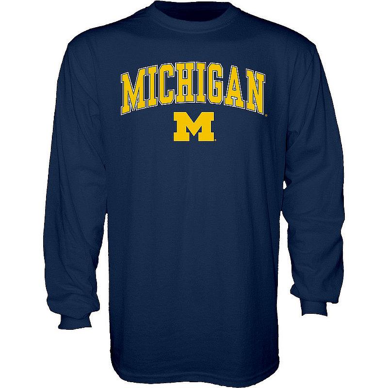 Elite Fan Shop Michigan Wolverines Long Sleeve Tshirt Varsity Navy APC02827796 (Elite Fan Shop)