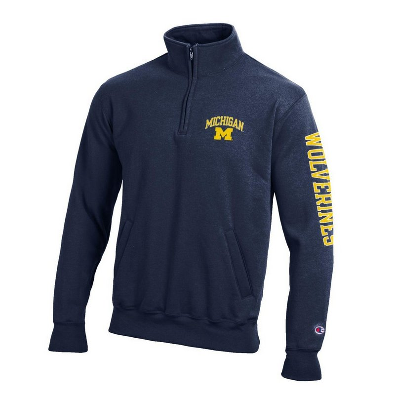 Elite Fan Shop Michigan Wolverines Quarter Zip Sweatshirt Letterman Navy APC02845663/APC02845665 (Elite Fan Shop)