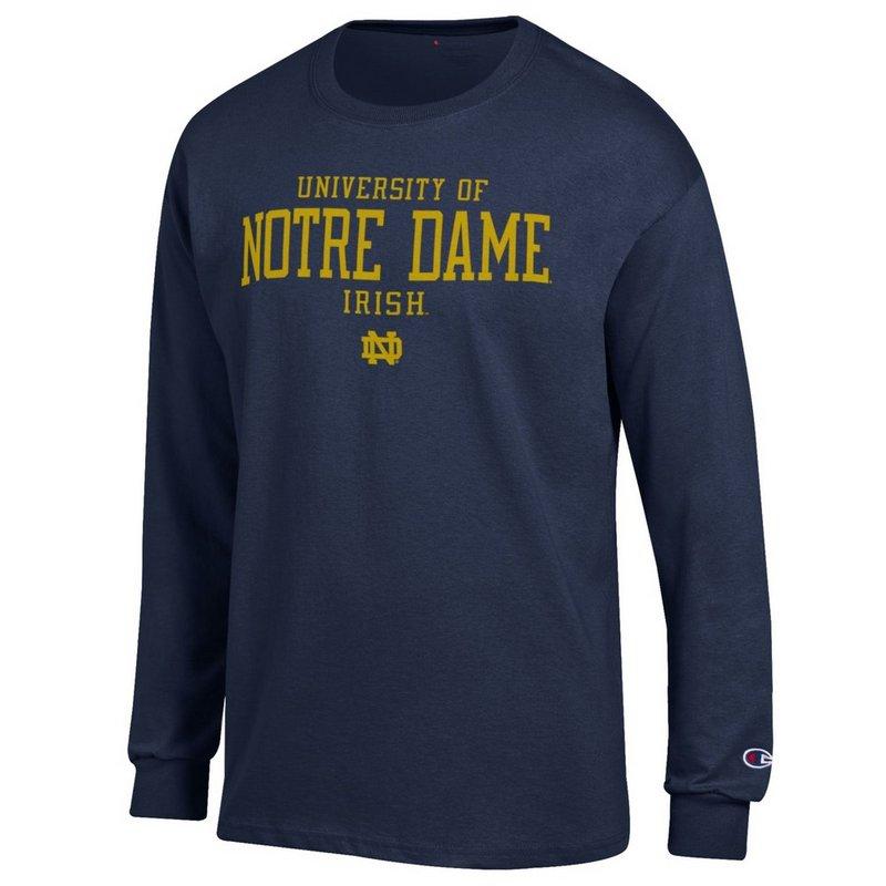 Elite Fan Shop University Of Notre Dame Long Sleeve Shirt Navy APC01170855 (Elite Fan Shop)