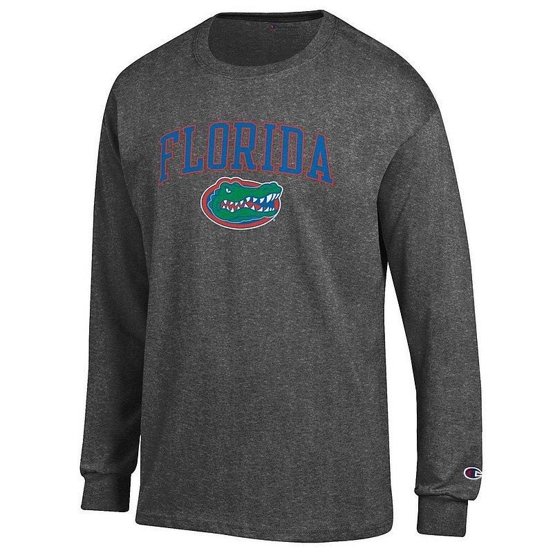 Florida Gators Long Sleeve Tshirt Arch Heather Gray Arch Over APC02857113*