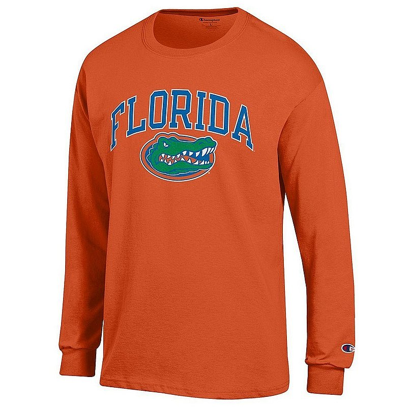Florida Gators Long Sleeve Tshirt Arch Heather Gray Arch Over APC03007069*