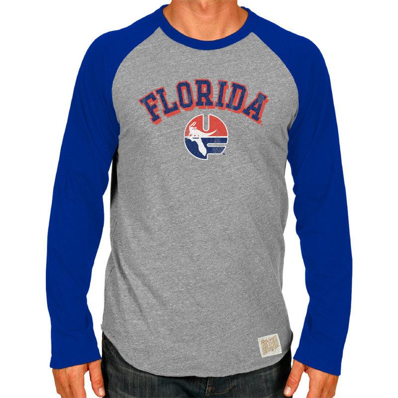 Florida Gators Retro TriBlend Long Sleeve Tshirt Raglan Gray