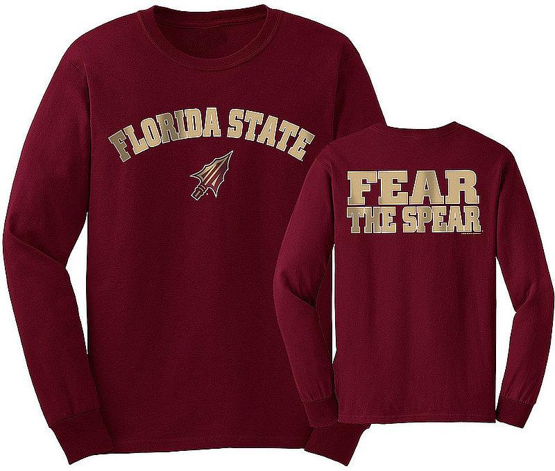 Florida State Seminoles Long Sleeve Tshirt Garnet Fear The Spear FSUArchSloganGGN
