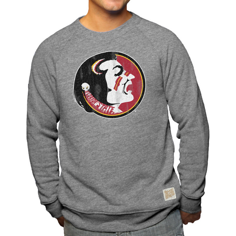 Florida State Seminoles Retro TriBlend Crewneck Sweatshirt Gray CFSU030A