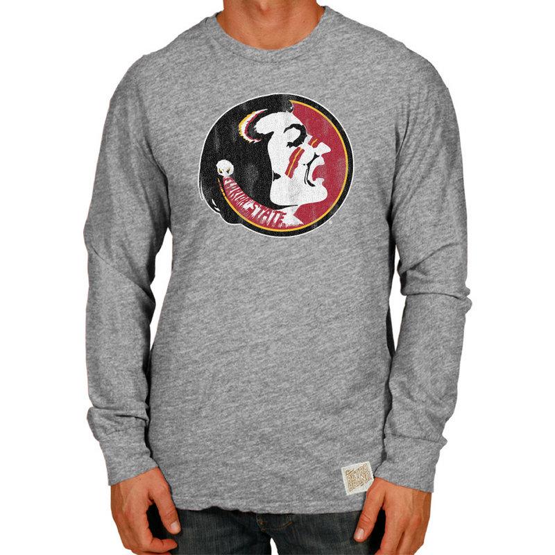 Florida State Seminoles Retro TriBlend Long Sleeve Tshirt Gray CFSU030A