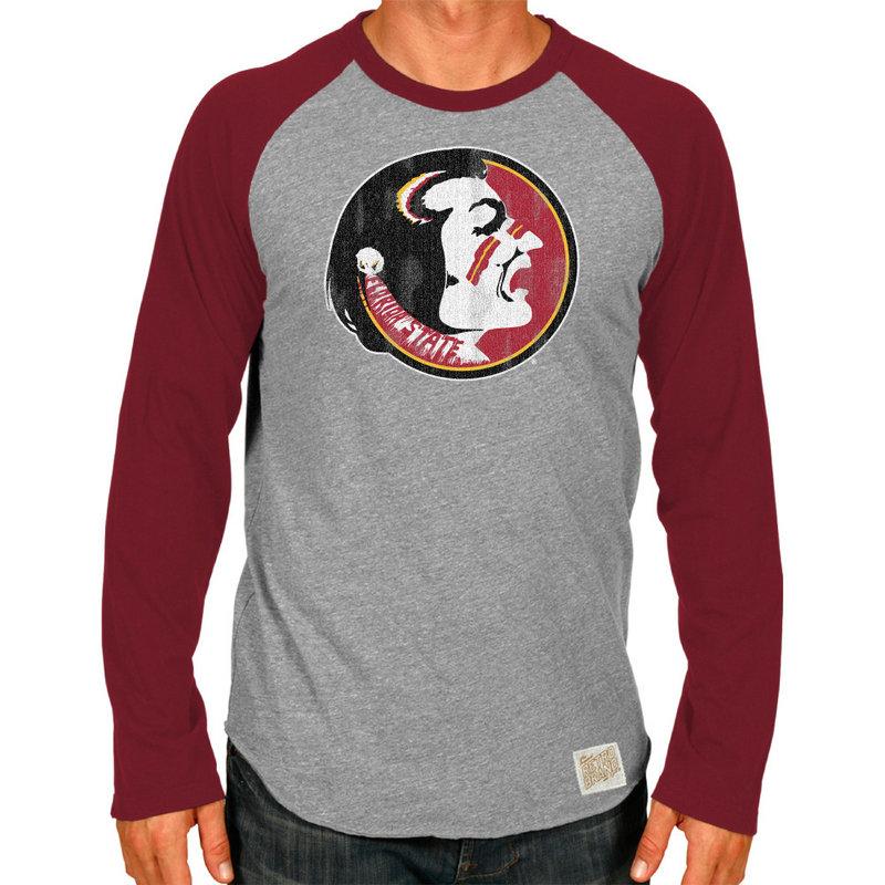 Florida State Seminoles Retro TriBlend Long Sleeve Tshirt Raglan Gray CFSU030A_GAR