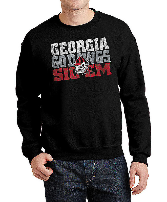 Georgia Bulldogs Crewneck Sweatshirt Arch Black P0005488