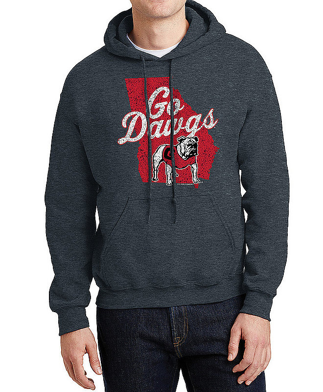Georgia Bulldogs Hooded Sweatshirt Vintage Icon Charcoal UGACHSC3105