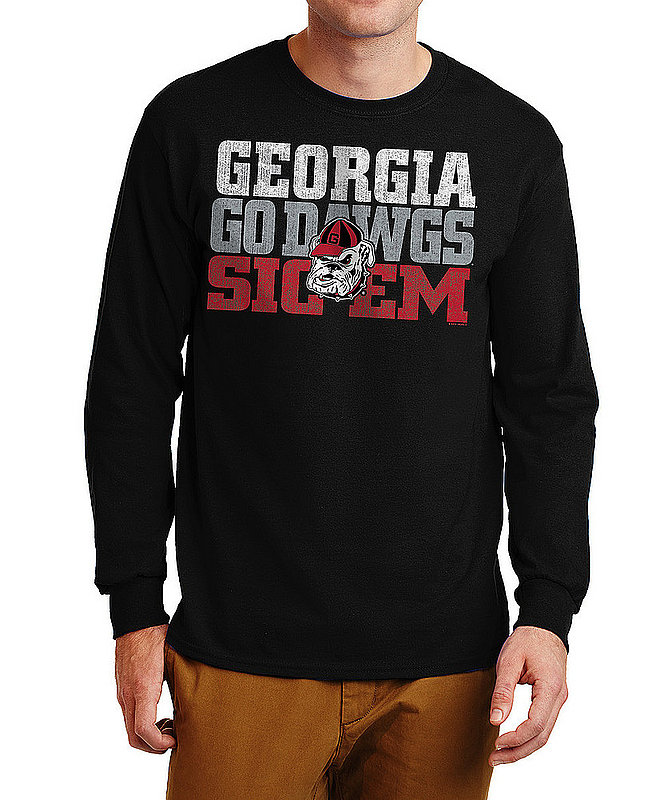 Georgia Bulldogs Long Sleeve Tshirt Arch Black P0005488