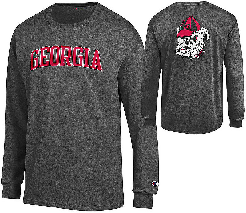 Georgia Bulldogs Long Sleeve TShirt Charcoal Back APC03010080/APC03023894