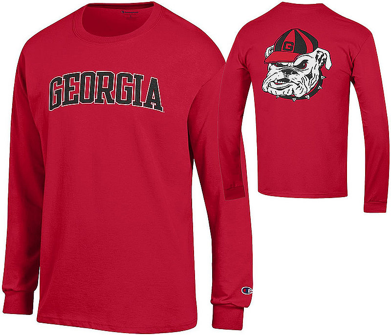 Georgia Bulldogs Long Sleeve TShirt Red Back APC03010079/APC03010077