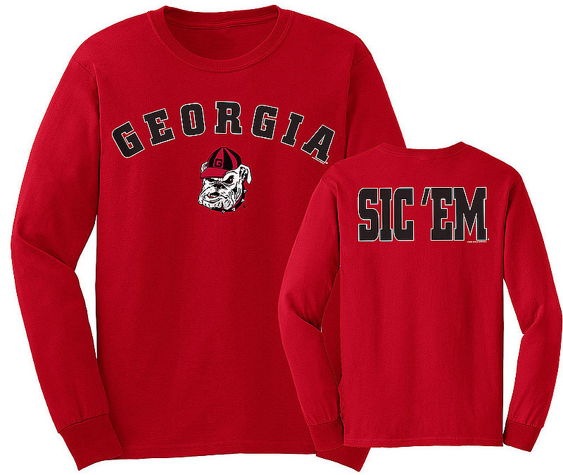 Georgia Bulldogs Long Sleeve Tshirt Red Sic 'Em UGAArchSloganGRD