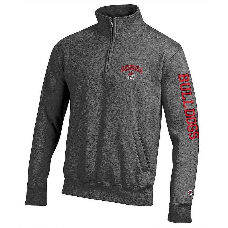 Georgia Bulldogs Quarter Zip Sweatshirt Letterman Charcoal