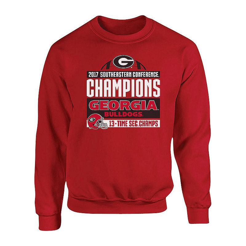 Georgia Bulldogs SEC Champs Crewneck Sweatshirt 2017 Red Helmet P0010201