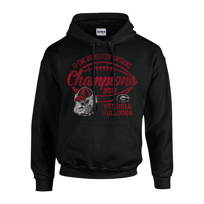 Georgia Bulldogs SEC Champs Hoodie Sweatshirt 2017 Black Vintage