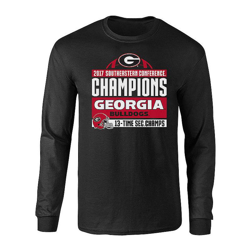 Georgia Bulldogs SEC Champs Long Sleeve Tshirt 2017 Black Helmet P0010201