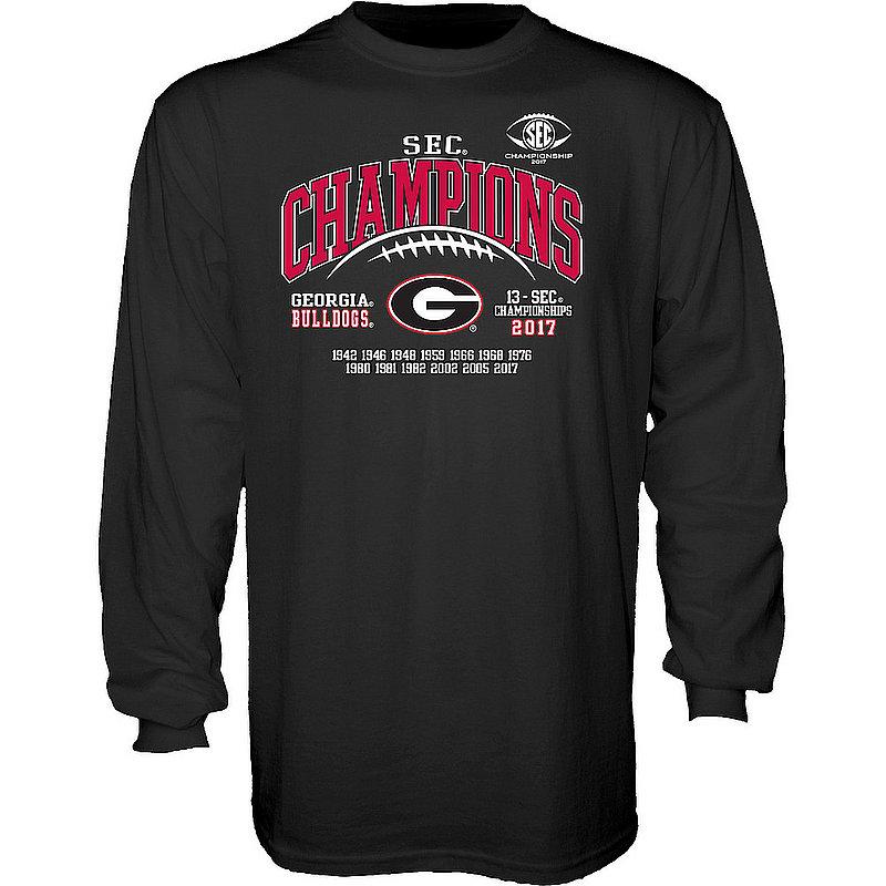 407fd4cbb571 Georgia Bulldogs SEC Champs Long Sleeve Tshirt 2017 Black Laces