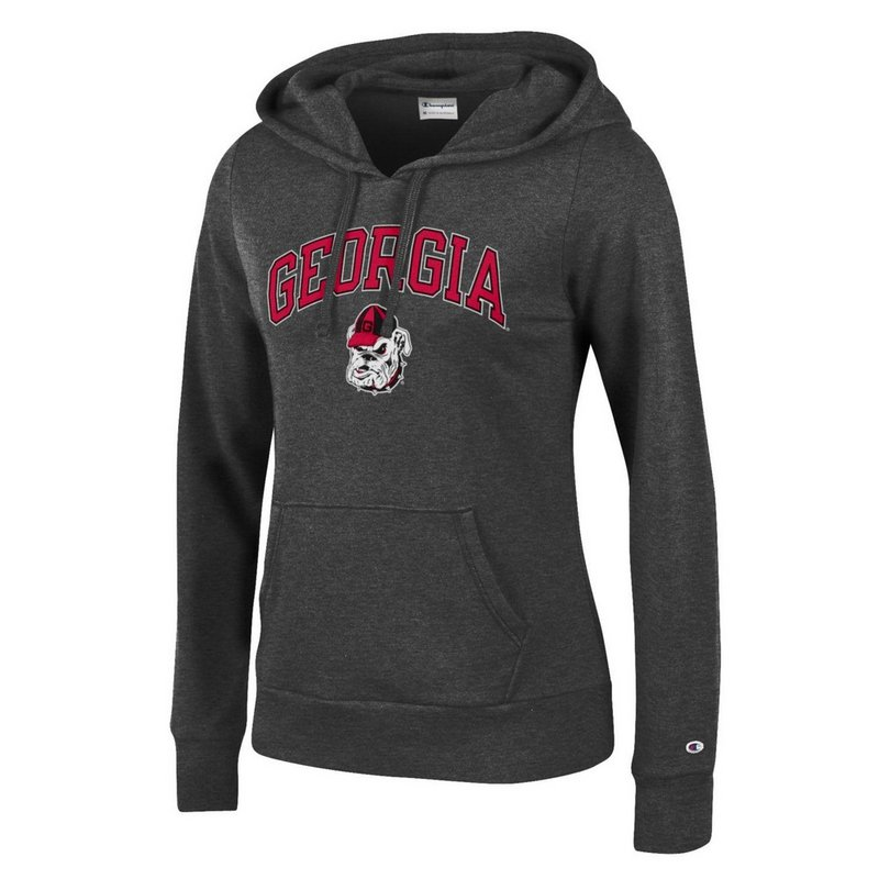 Georgia Bulldogs Womens Hooded Sweatshirt Charcoal Arch