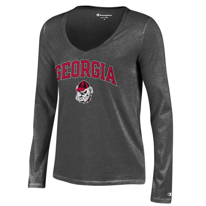Georgia Bulldogs Womens VNeck Long Sleeve TShirt Charcoal APC03194165