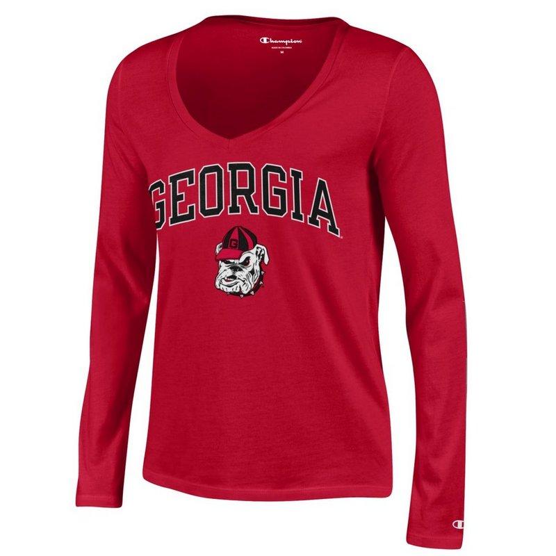 Georgia Bulldogs Womens VNeck Long Sleeve TShirt Red APC03146652