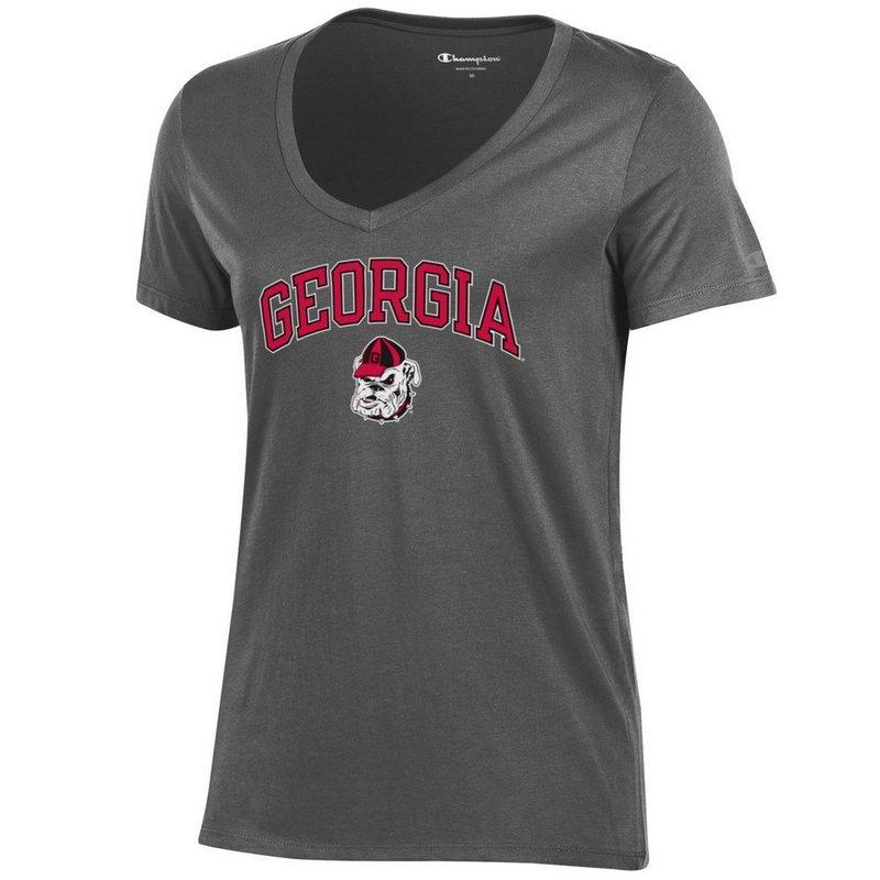 Georgia Bulldogs Womens VNeck TShirt Charcoal APC03194165