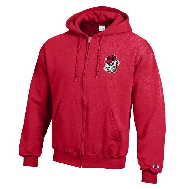 Georgia Bulldogs Zip Up Hooded Sweatshirt Captain Red