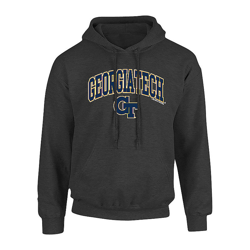 Georgia Tech Yellow Jackets Hooded Sweatshirt Arch Over Plus Size Charcoal