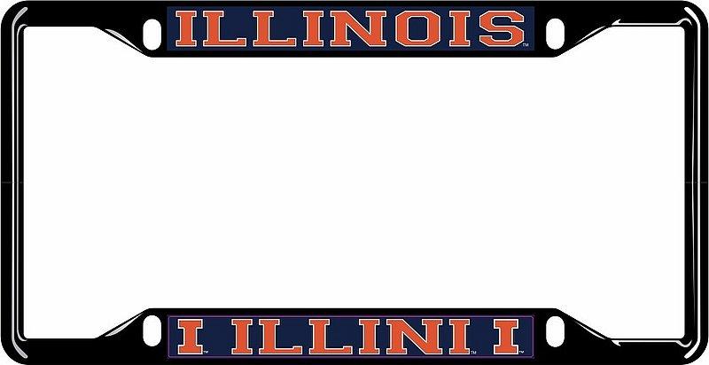 Illinois Fighting Illini License Plate Frame Black 14663