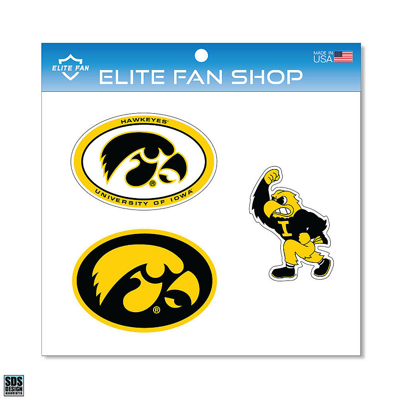 "Iowa Hawkeyes 6"" Vinyl Decal 3-Pack DIOWA01"
