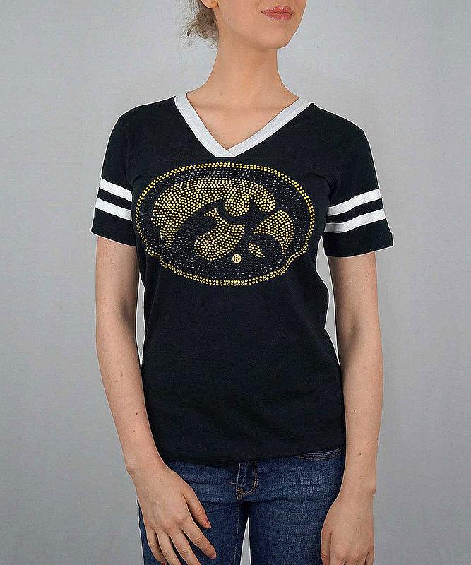 Iowa Hawkeyes Women's Tshirt Captain Black IOWJV501
