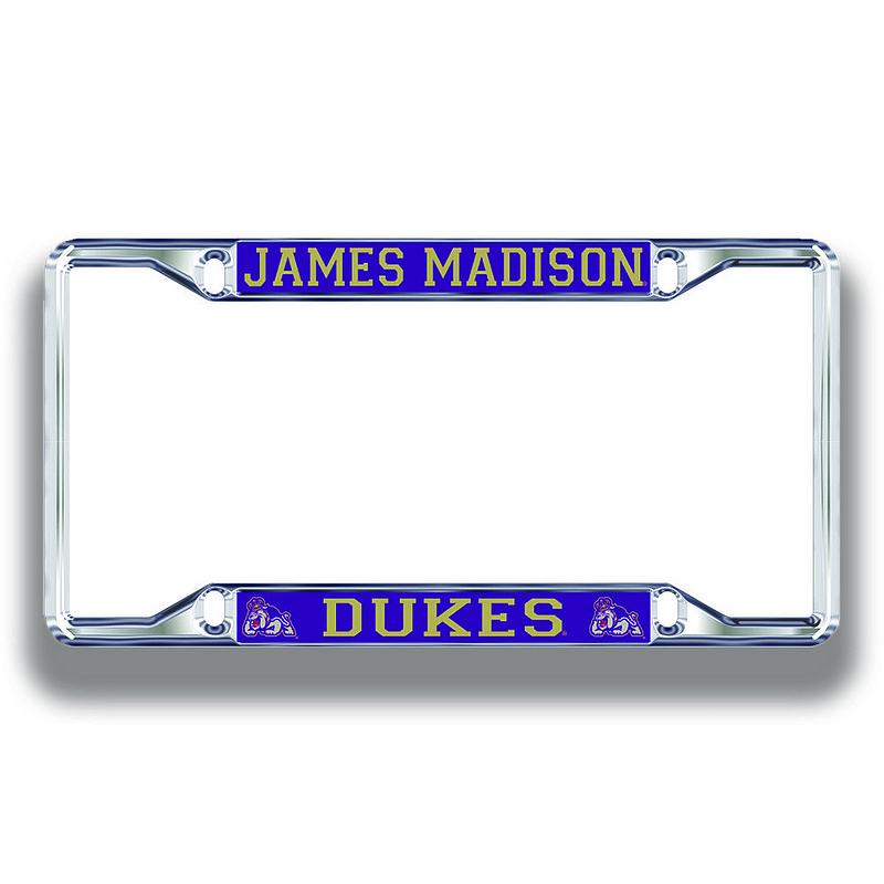 James Madison Dukes License Plate Frame Silver 24871