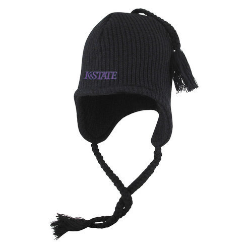 K State Wildcats Knit Winter Hat with Ear Flaps Black