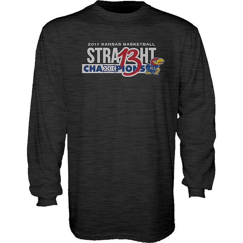 e46c882e2 Kansas Jayhawks 2017 Big 12 Champs Long Sleeve TShirt Charcoal LOGOTYPE  ICON B1217 SOFT-KAN