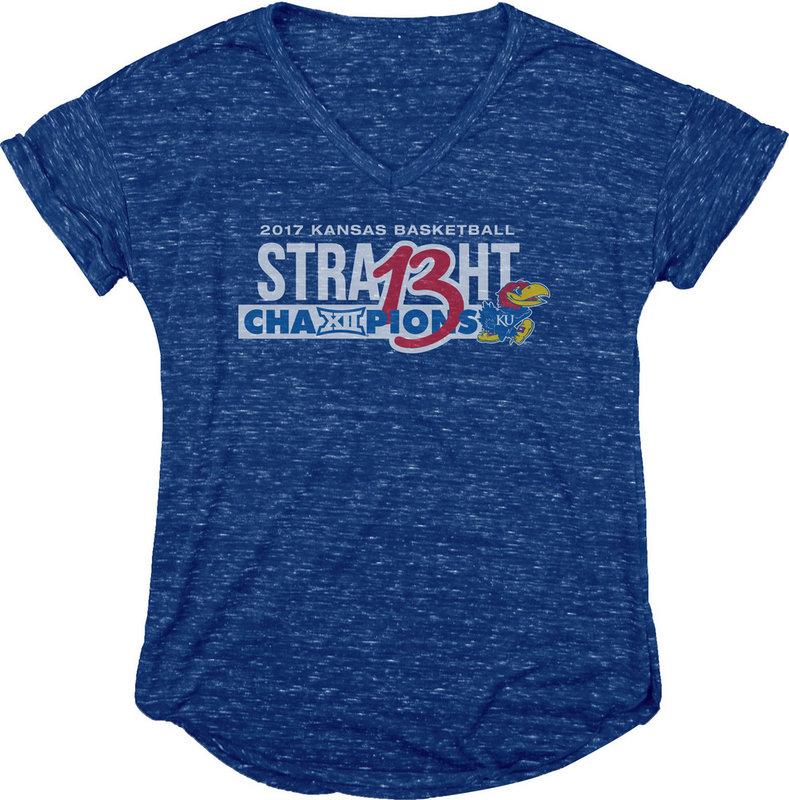 e56a7dc6a Kansas Jayhawks 2017 Big 12 Champs Womens TShirt Royal LOGOTYPE B1217 SOFT  JR-KAN