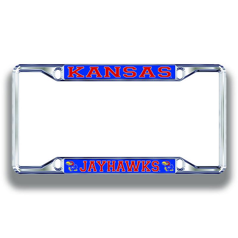 Kansas Jayhawks License Plate Frame Silver 19267