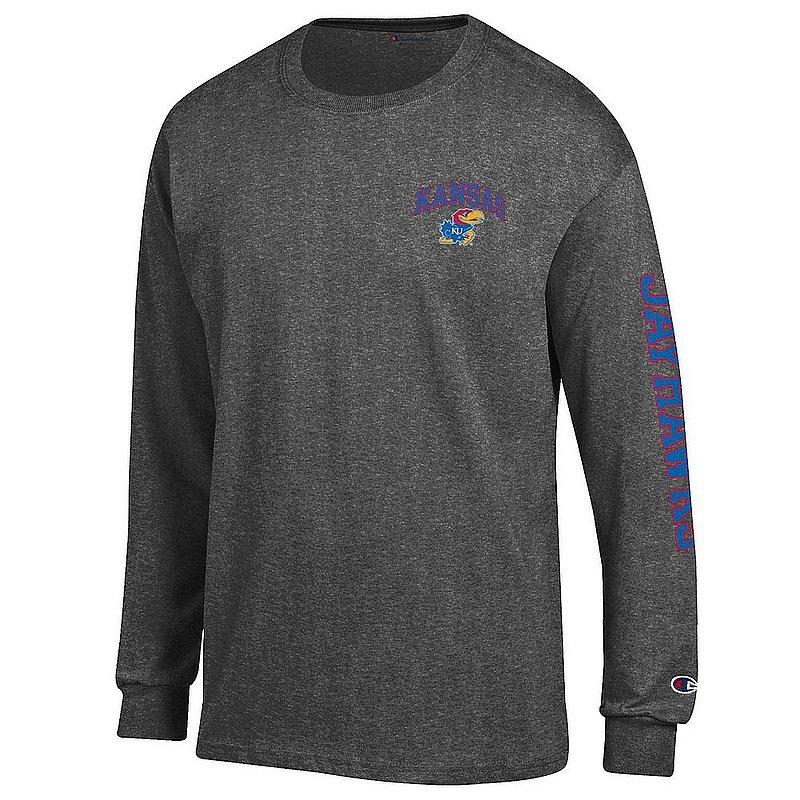 Kansas Jayhawks Long Sleeve TShirt Letterman Charcoal APC02973743/APC02973744