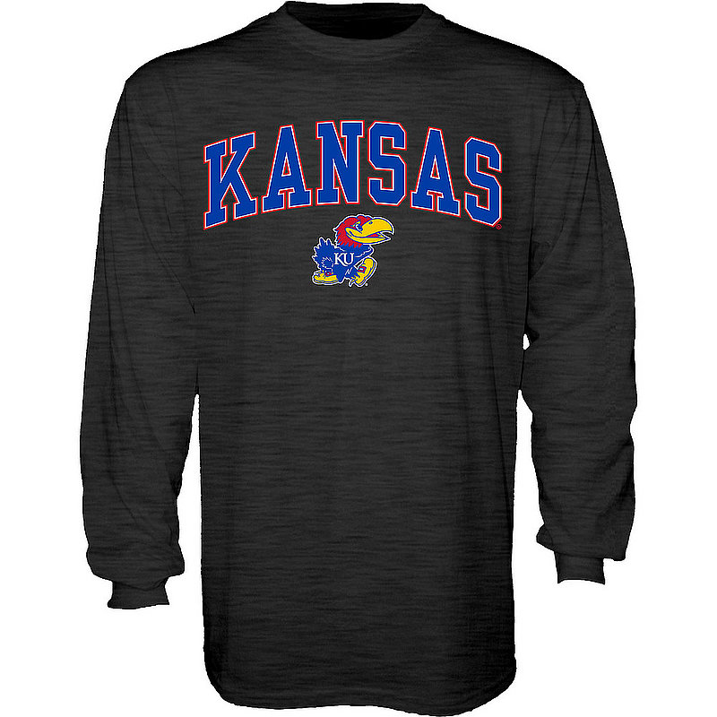 Kansas Jayhawks Long Sleeve TShirt Varsity Charcoal Arch Over APC02986200*