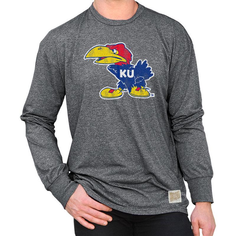 Kansas Jayhawks Retro Long Sleeve Tshirt Charcoal CKAN176A_MTCH
