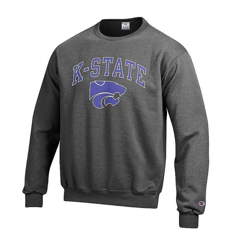 Kansas State Wildcats Crewneck Sweatshirt Varsity Charcoal Arch Over APC02986224*