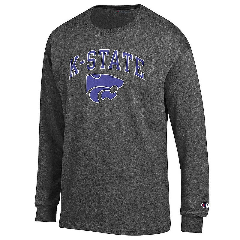 Kansas State Wildcats Long Sleeve TShirt Varsity Charcoal Arch Over APC02986224*