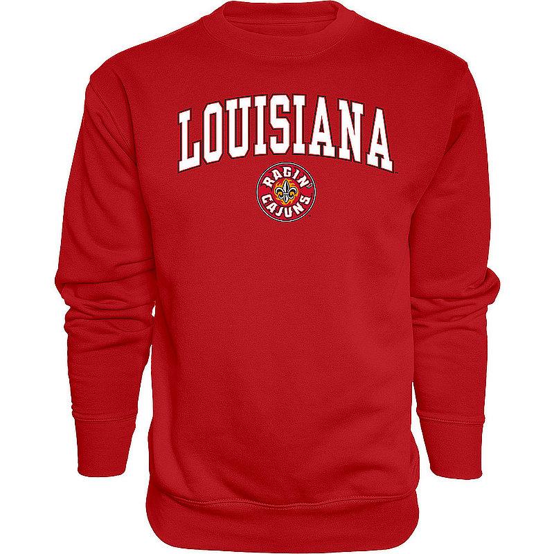 Louisiana Ragin' Cajuns Crewneck Sweatshirt Vermilion Arch Over BCRDP