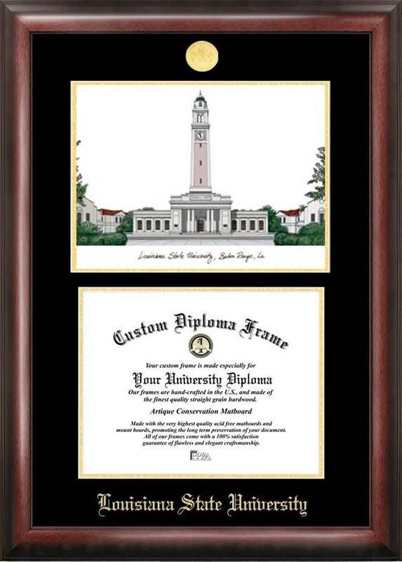 LSU Tigers Gold Embossed Diploma Frame With Lithograph DSCI-la999lged