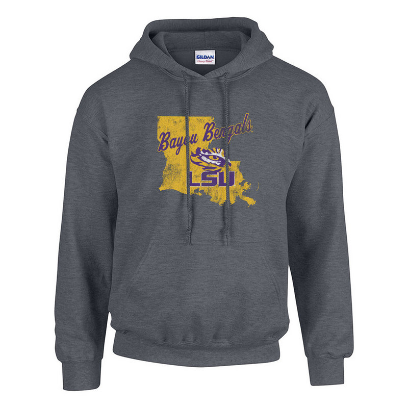 LSU Tigers Hooded Sweatshirt Icon Heather Gray #525-LSU-DHR