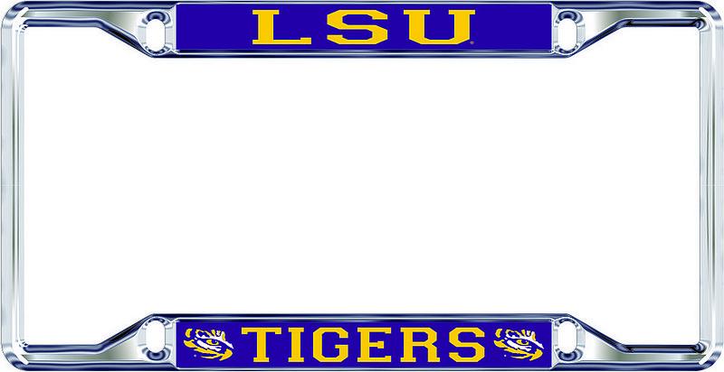 LSU Tigers License Plate Frame Silver 37437