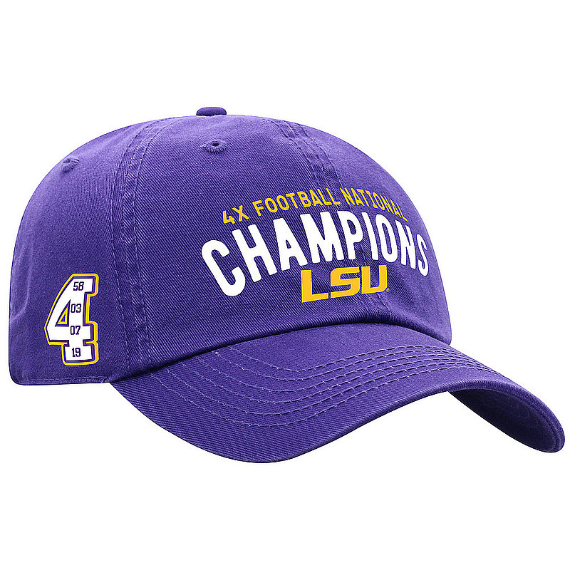 LSU Tigers National Championship Champs Hat 2019 - 2020 Purple 4X