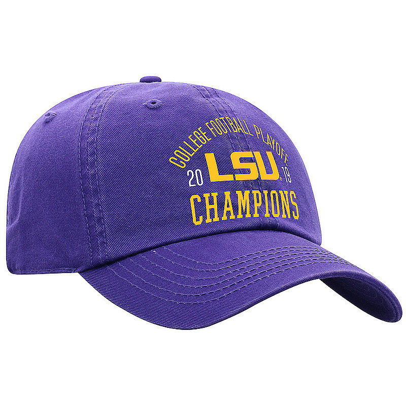LSU Tigers National Championship Champs Hat 2019 - 2020 Purple Arch LSU Purple Crew TRADITION	CFBPG-CFBPC-19C-AA01