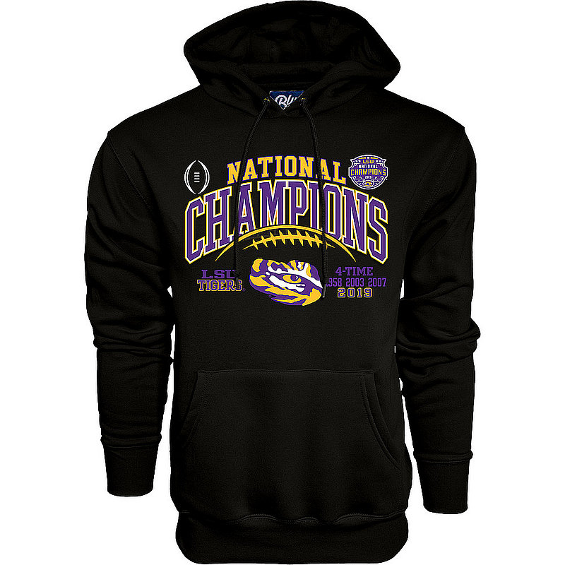 LSU Tigers National Championship Champs Hooded Sweatshirt 2019 - 2020 Laces Black