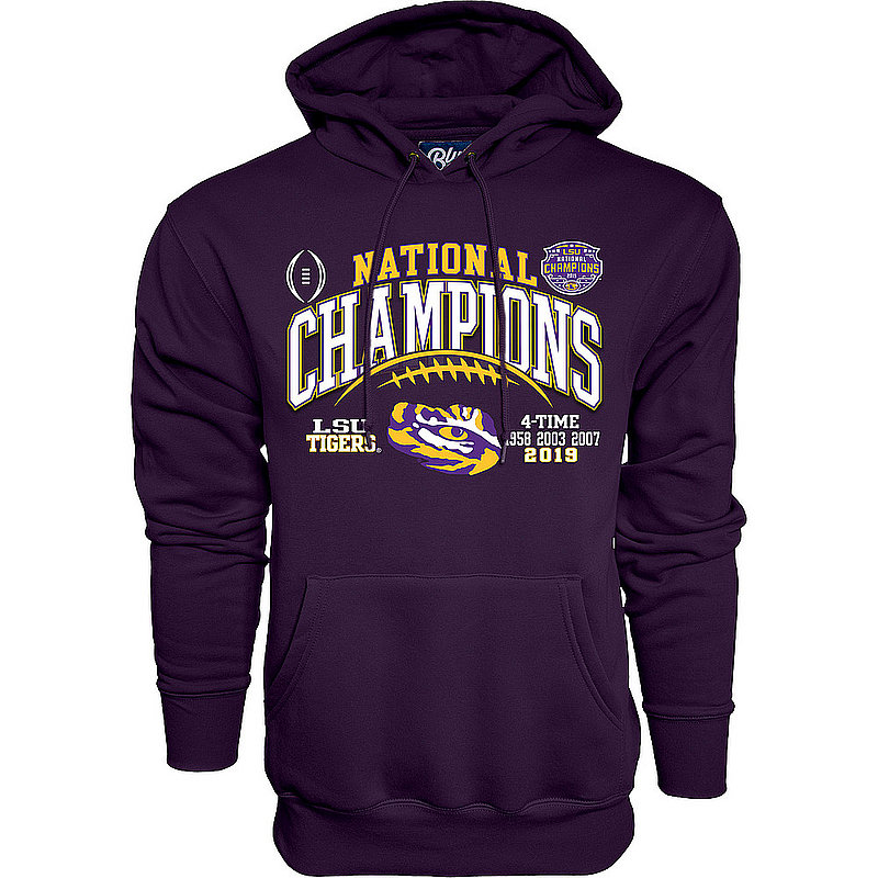 LSU Tigers National Championship Champs Hooded Sweatshirt 2019 - 2020 Laces Purple GILT
