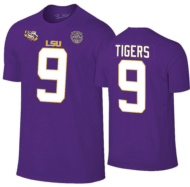 LSU Tigers National Championship Champs Joe Burrow Jersey Tshirt 2019 - 2020 Purple VLS9666B *