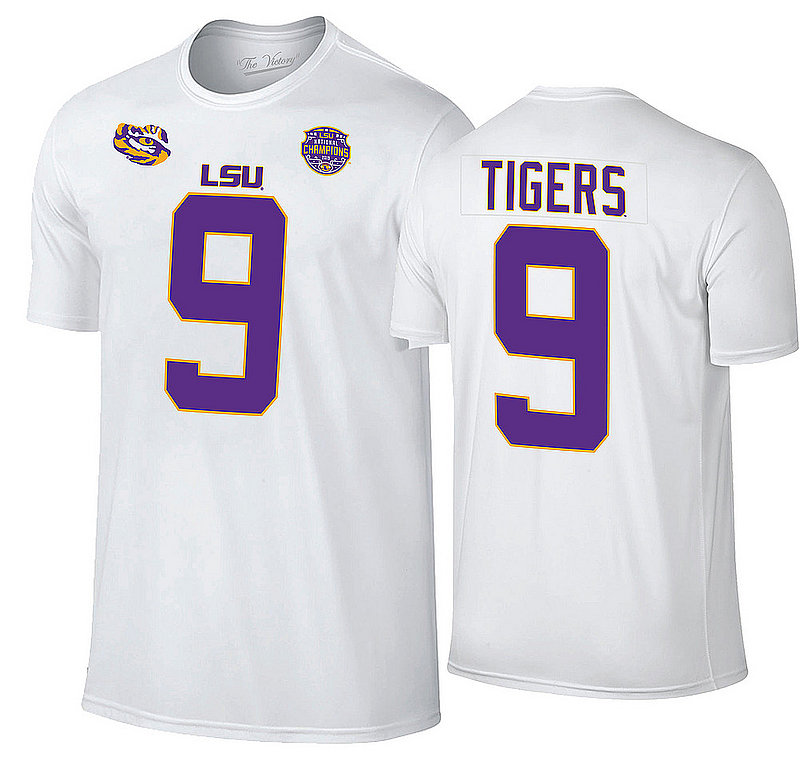 LSU Tigers National Championship Champs Joe Burrow Jersey Tshirt 2019 - 2020 White VLS9666A *